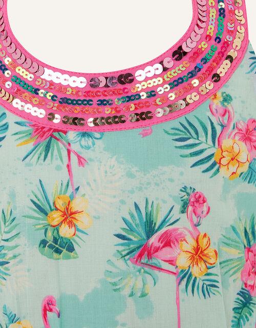 Flamingo Playsuit in Organic Cotton, Blue (AQUA), large