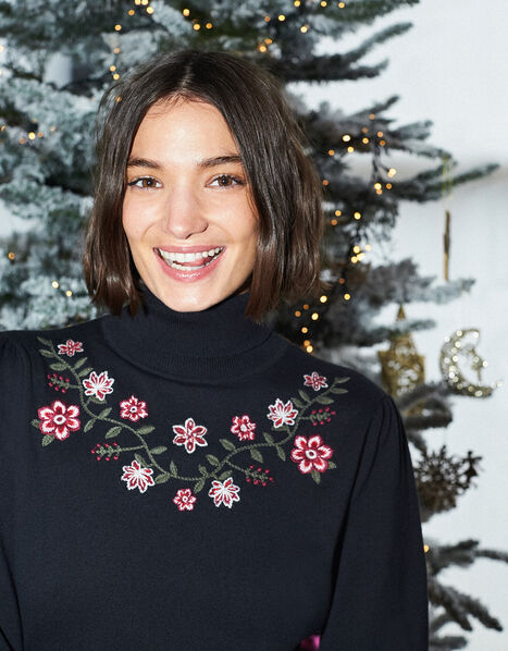 Embroidered Yoke Knit Midi Dress Black, Black (BLACK), large