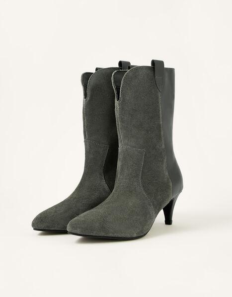 Winnie Western Mid-Calf Leather Boots Grey, Grey (GREY), large