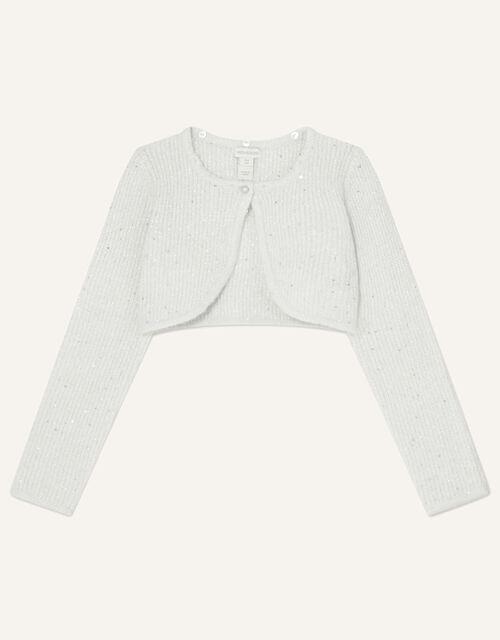Fluffy Collar Sequin Cardigan, Grey (GREY), large