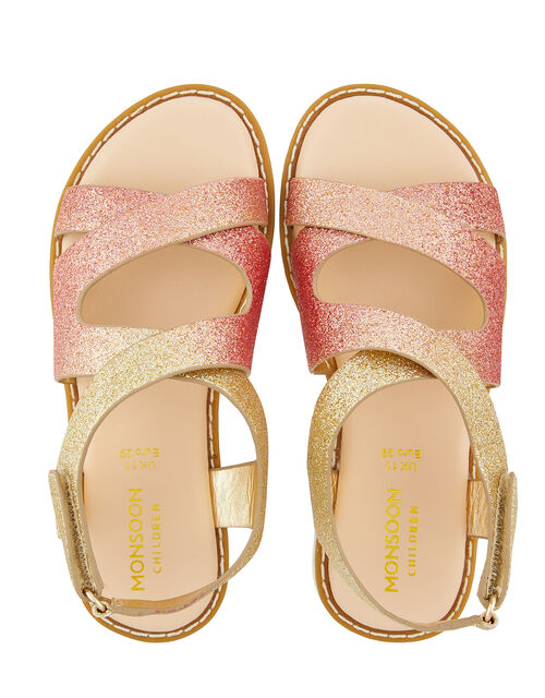 Mariah Ombre Glitter Comfort Sandals, Gold (GOLD), large