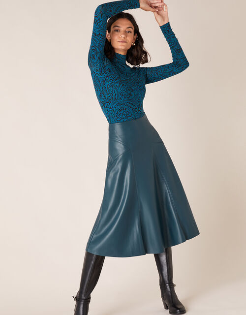 PU Midi Skirt with Recycled Fabric, Teal (TEAL), large