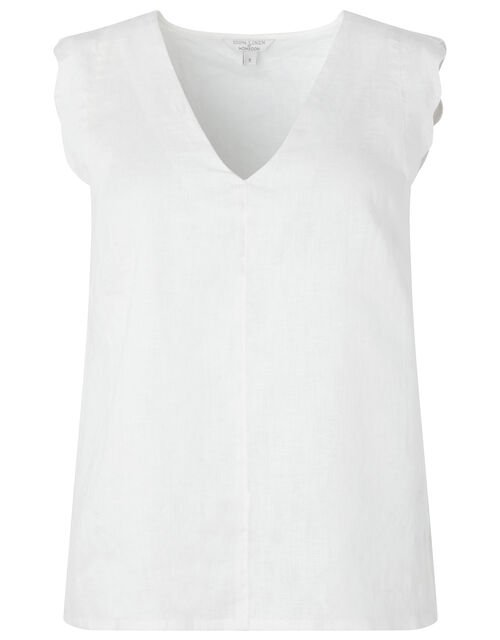 Lotus Scalloped Sleeveless Top in Pure Linen, White (WHITE), large