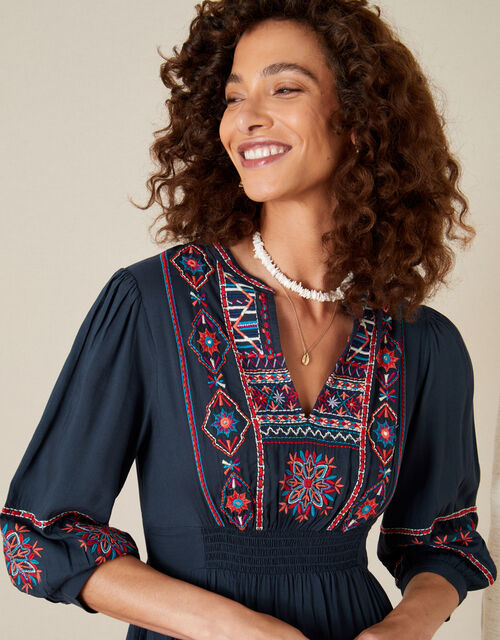 Embroidered Dress in LENZING™ ECOVERO™, Blue (NAVY), large