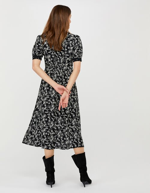 Jean Printed Dress in Sustainable Viscose, Black (BLACK), large