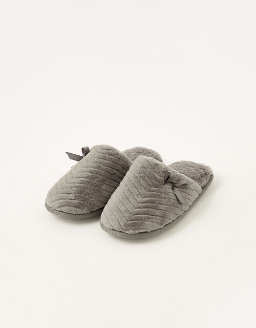 Quilted Fluffy Slippers, Grey (GREY), large
