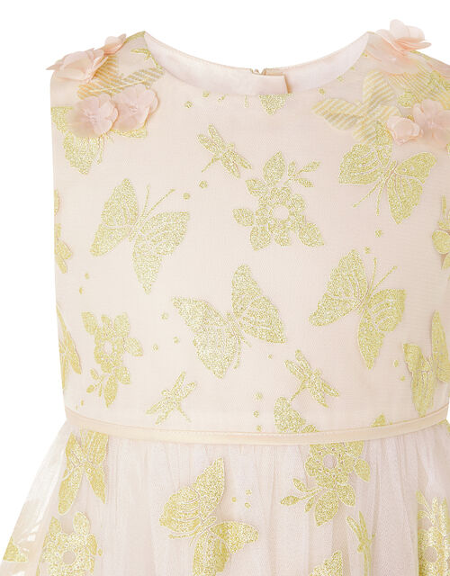 Samantha Glitter Butterfly Hanky Hem Dress, Gold (GOLD), large