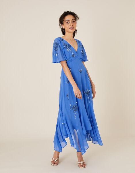 Amira Embellished Hanky Hem Dress Blue, Blue (BLUE), large