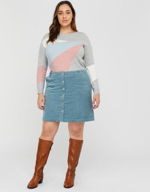 Jessica Jumbo Cord Skirt, Blue, large