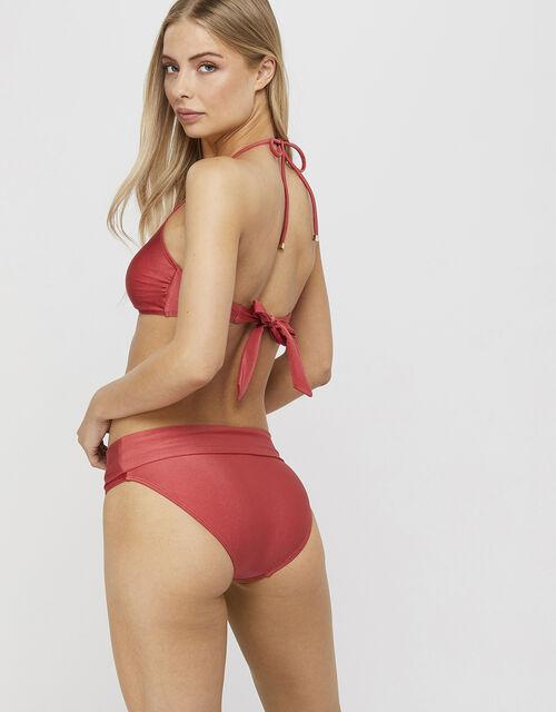 Nicole Shimmer Bikini Brief Bottoms, Orange (CORAL), large