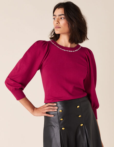Crystal Neckline Jumper with Sustainable Viscose Red, Red (BERRY), large