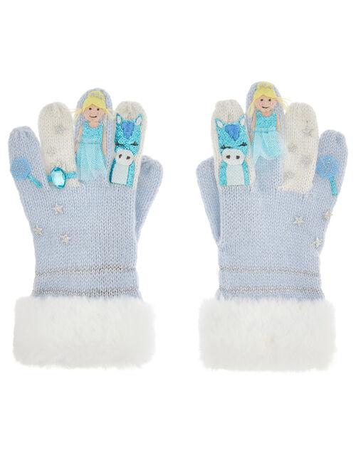 Frosted Princess Knit Gloves, Blue (BLUE), large