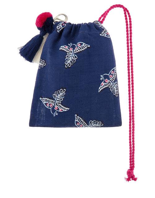 Navy Bird Shopper Bag in Organic Cotton, , large