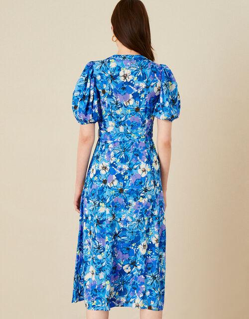 Floral Print V-Neck Shirt Dress , Blue (BLUE), large