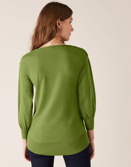 Braid Trim Longline Jumper with Recycled Nylon, Green (GREEN), large