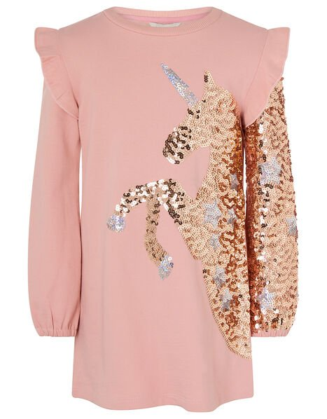 Sequin Unicorn Sweat Dress in Organic Cotton Pink, Pink (PINK), large