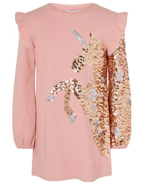 Sequin Unicorn Sweat Dress in Organic Cotton Pink, Pink (PINK), large
