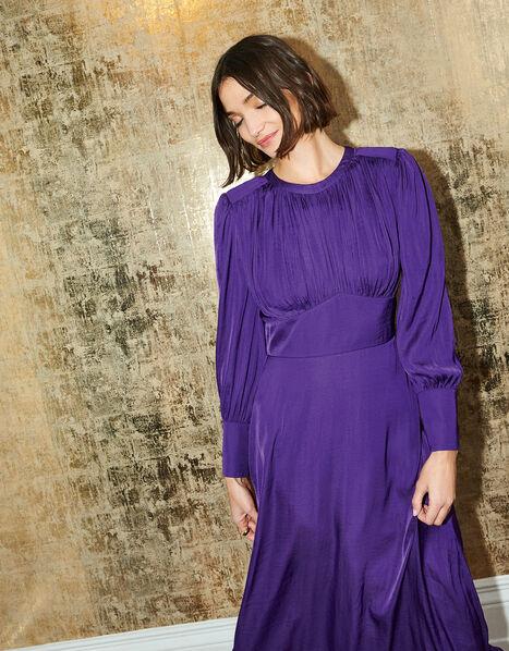 Long Sleeve Satin Midi Dress Purple, Purple (PURPLE), large