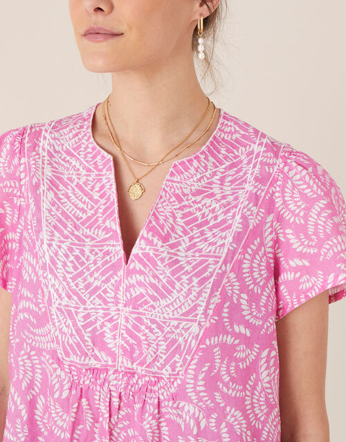 Embroidered Top in Pure Linen, Pink (PINK), large