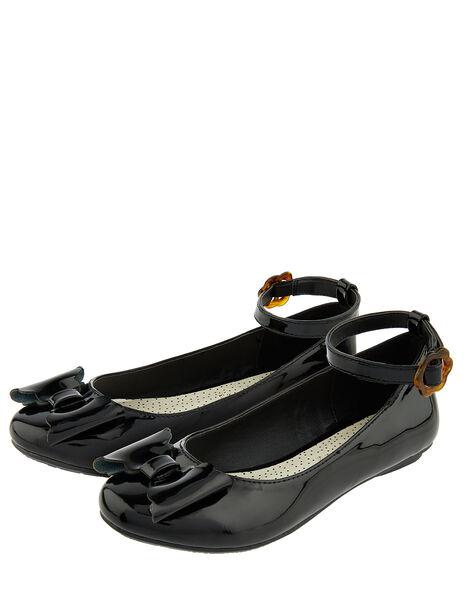 Alina Patent Ballerina Flat Shoes Black, Black (BLACK), large