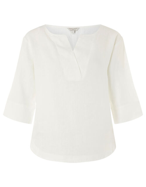 Daisy Plain T-Shirt in Pure Linen, White (WHITE), large