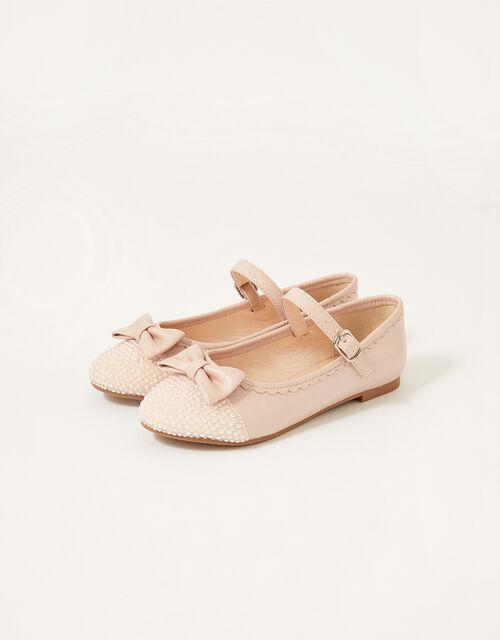 Shimmer Toe Bow Ballerina Flats, Pink (PINK), large