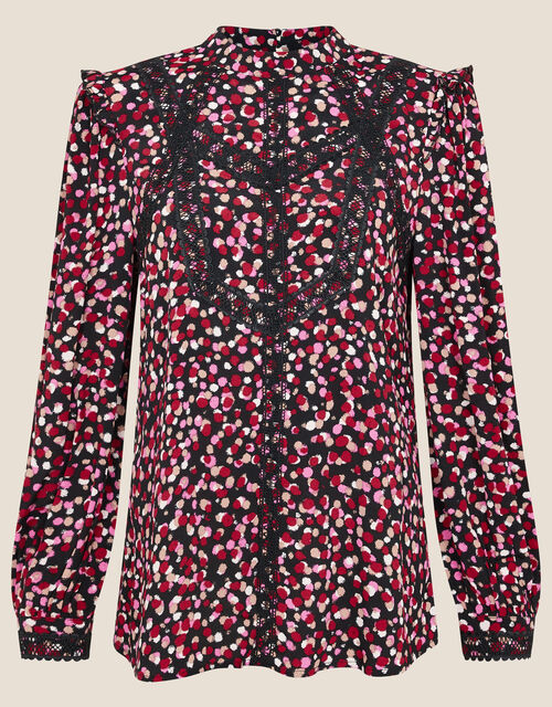 Spot Print Lace Trim Long Sleeve Top, Pink (PINK), large