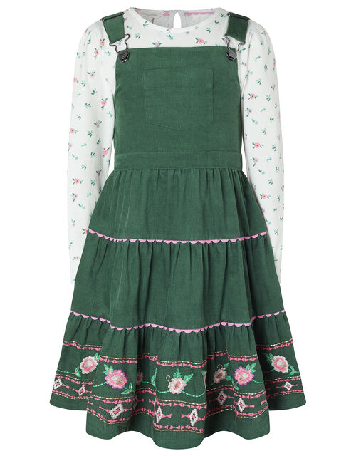 Embroidered Cord Pinafore Dress and Top Set, Green (GREEN), large