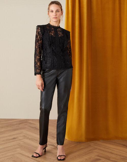 Leah Long Sleeve Lace Top, Black (BLACK), large