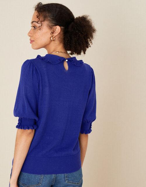Ruffle Collar Jumper in Linen Blend, Blue (BLUE), large