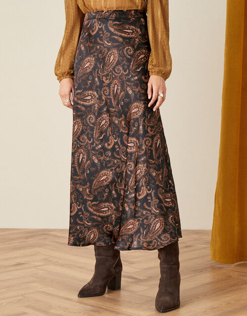Anya Paisley Bias Satin Skirt, Black (BLACK), large