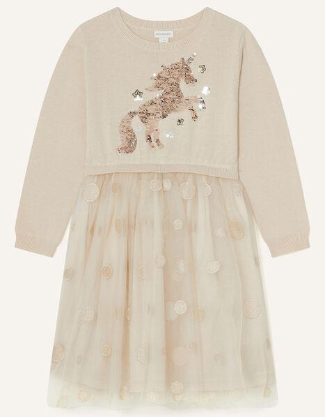 2-in-1 Unicorn Knit Dress Cream, Cream (CREAM), large