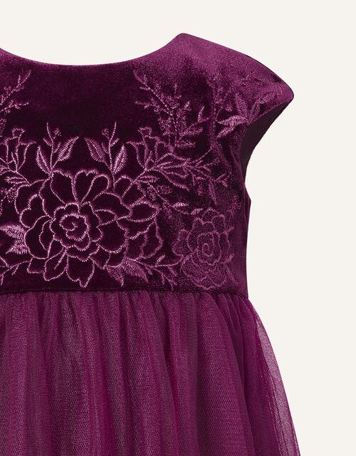 Baby Floral Velvet Dress, Red (BURGUNDY), large