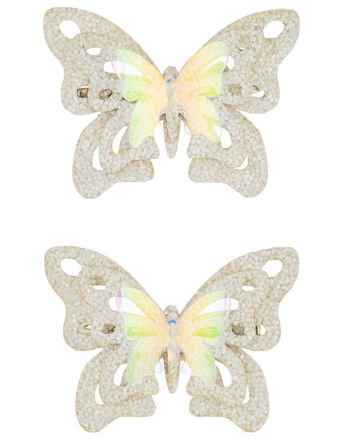Leah Glitter Butterfly Hair Clips, , large