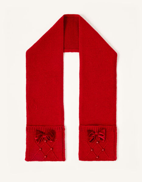Ruby Pearl and Bow Scarf, , large