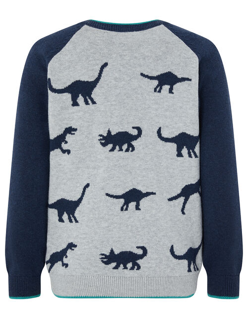 Elijah Dinosaur Knitted Jumper, Grey (GREY), large