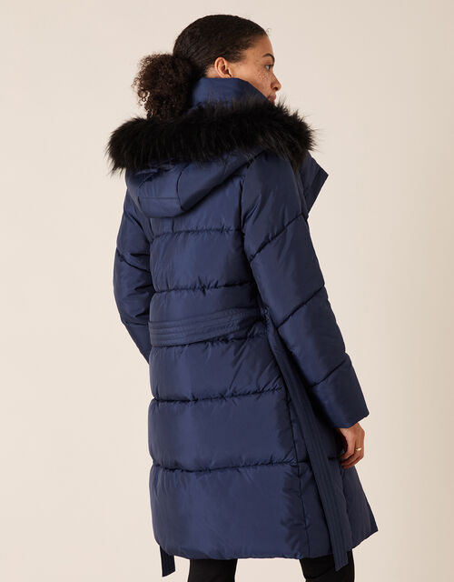 Pasty Long Padded Coat in Recycled Fabric, Blue (NAVY), large