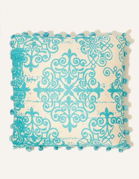 Printed Pom-Pom Cushion, , large