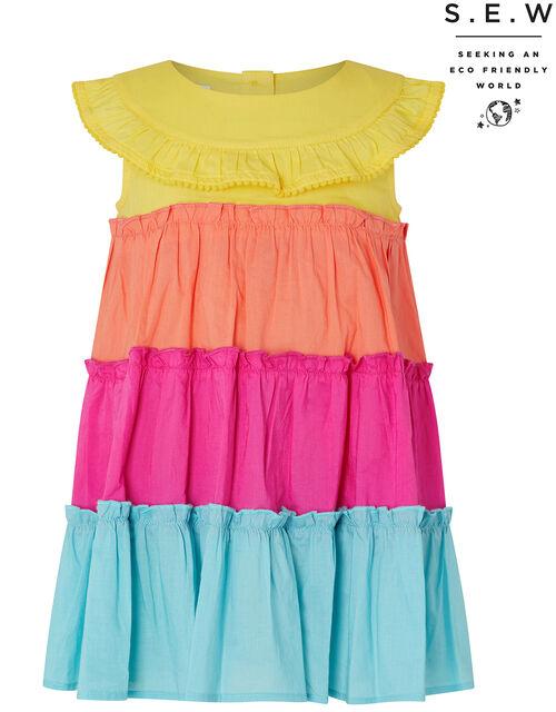 Baby Colourblock Tiered Dress in Organic Cotton, Multi (MULTI), large