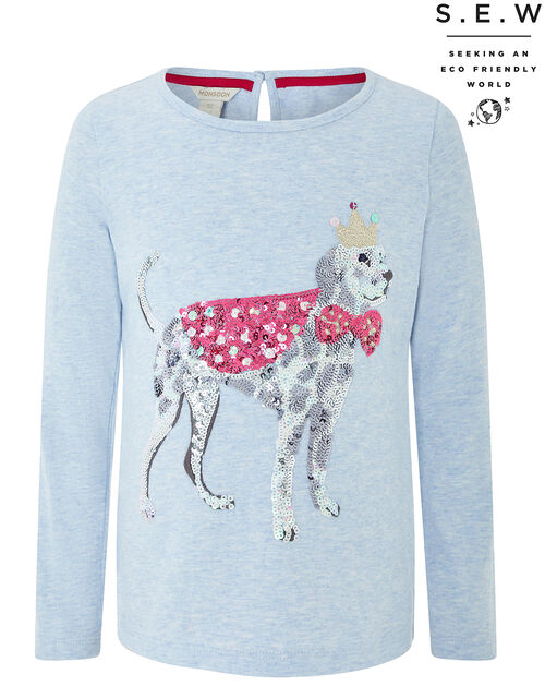 Spot Sequin Dog Top in Organic Cotton, Blue (PALE BLUE), large