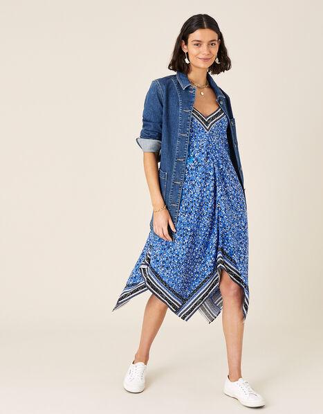 Hanky Hem Strappy Dress  Blue, Blue (COBALT), large