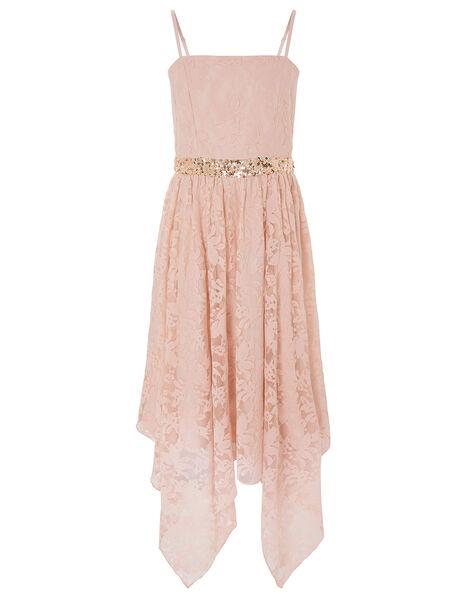 Lace Hanky Hem Prom Dress Pink, Pink (PINK), large
