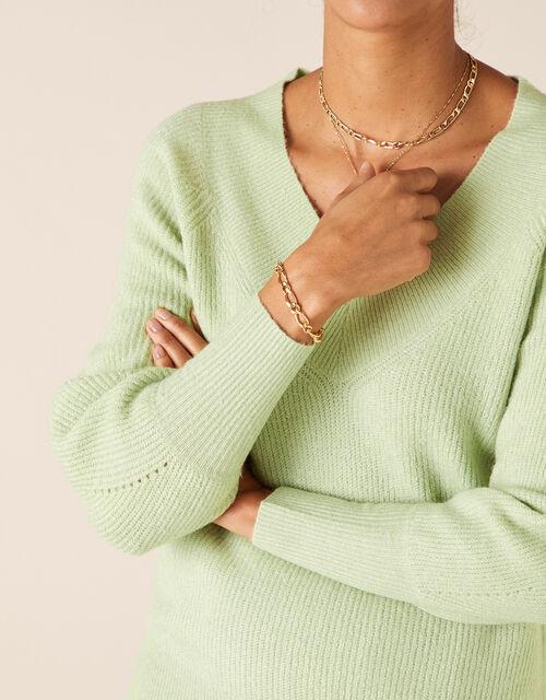 V-Neck Ribbed Knit Jumper, Green (GREEN), large