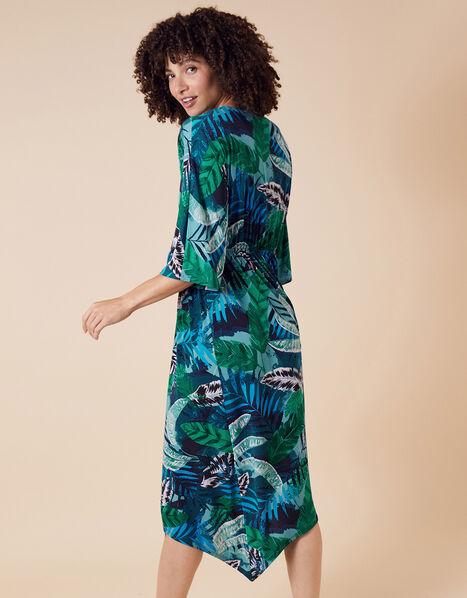 Sandra Palm Print Jersey Midi Dress Multi, Multi (MULTI), large