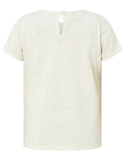 Glitter and Sequin Feather T-Shirt, Camel (OATMEAL), large