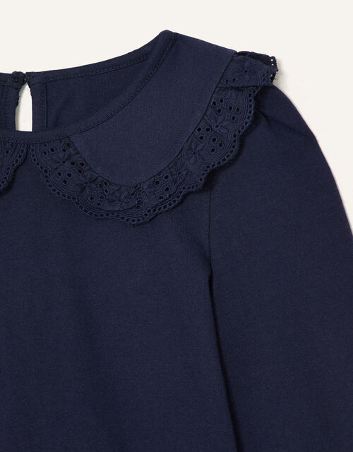 Broderie Collar Top, Blue (NAVY), large