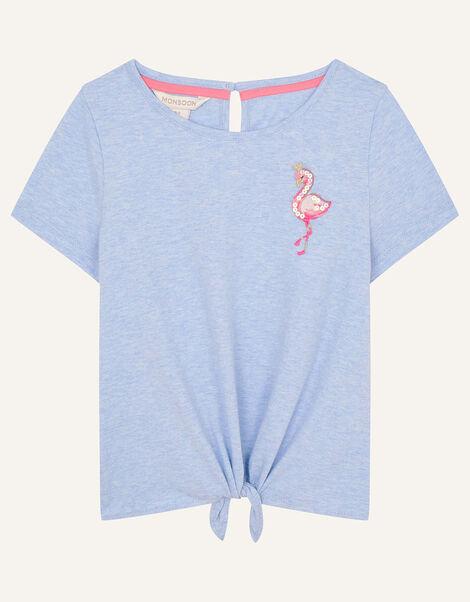 Sequin Flamingo Tie Front Top Blue, Blue (BLUE), large