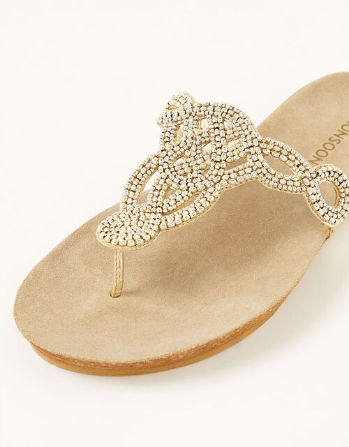 Beaded Toe-Post Sandals, Gold (GOLD), large