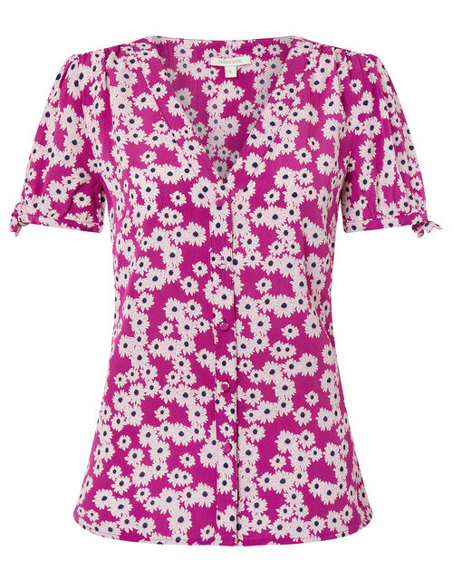 Delta Floral Blouse in Sustainable Viscose, Pink (PINK), large