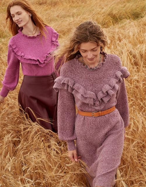 Ruffle Detail High Neck Dress , Purple (PURPLE), large